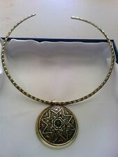 RUSSIAN DIOPSIDE (GREEN STONE) 18K ANTIQUE GOLD/STAINLESS STEEL COLLAR   18""
