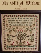 The Gift of Wisdom,antique sampler style,chart(6pg) block,symbols
