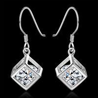 925 Frauen Damen Sterling Silber Strass Ohrringe Ohrschmuck-Kristall-Ohrhänger