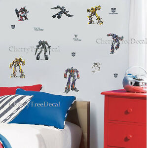 Transformers Boys Wall Stickers Mural Art Decor Optimus Prime Bumblebee Megatron