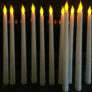Flameless Candle Ivory Taper Lamp Led Battery Flickering Stick Wedding Home Tabl