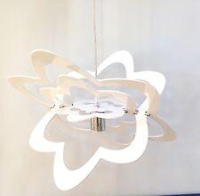 LAMPADARIO SOSPENSIONE PLEXIGLASS SATURNO FIORE BIANCO LATTE MILK WHITE