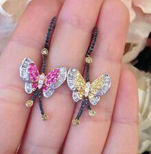 Estate 18K Butterfly Sapphire & Diamond Drop Earrings - HM1303