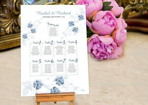 Personalised Wedding Seating Plan • Planner • Table Plans • ~Blue Floral