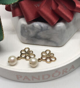 Pandora Fan Earring Charms - 14k Gold White Pearls 250427p Authentic Ale Retired