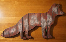 "Large 18"" Rustic Weathered Country Primitive Wood Plank Home Decor Fox Sign NEW"