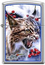 Lynx Bobcat en Chrome Brossé Zippo Briquet Art Par Mazzi