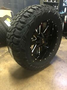 """20x10 ION 141 35"""" MT Black Wheel and Tire Package Set 5x5.5 Dodge Ram 1500"""