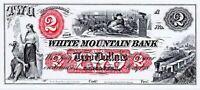 ABNC PROOF OR INTAGLIO PRINT $2 WHITE MOUNTAIN BNK LANCASTER NH SANTA & SLEIGH