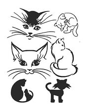 STENCILS CRAFTS TEMPLATES SCRAPBOOKING CATS  COLLECTION 5 STENCIL - 1 A4 MYLAR