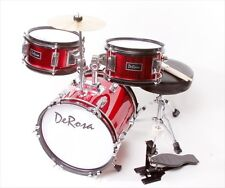De Rosa DRM312-RD 12 in. Kids Children Drum Set in Red - 3 Piece Set