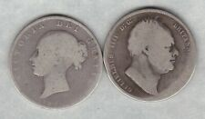 More details for two 1834 william iv & 1846 victoria silver half crowns in well used condition