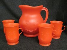 Vintage RED Plastic KOOL AID Pitcher and 4 Cups