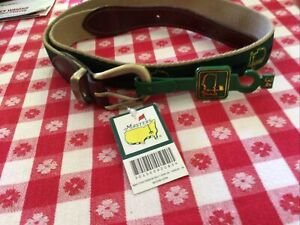 Masters Golf Augusta Leather Brass Buckle Ribbon Logo Men's Belt Size 34