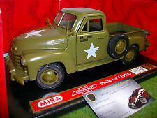 CHEVROLET PICK UP ARMY 1953 vert au 1/18 MIRA 6246 voiture miniature collection