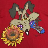 VINTAGE 90S WYLIE COYOTE T-SHIRT EVIL GENIUS LOONEY TUNES CARTOON ROAD RUNNER XL