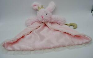 NEW ~ Mud Pie ~ Pink Minky Ruffle ~ Bunny Rabbit ~ Moon ~ Security Blanket/Lovey
