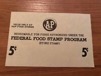 Vintage Food Stamp Coupon 5 Cents Federal Food Stamp Program