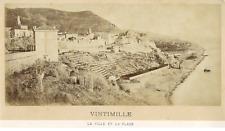 France, Vintimille, La Ville et La Plage  Vintage albumen print.  Tirage album