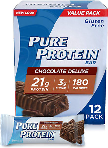 Pure Protein Bars High Protein Gluten Free Chocolate Deluxe 1.76 Oz Bars 12 Pcs