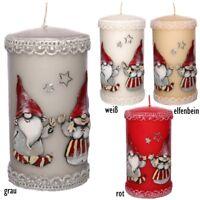 Stumpenkerzen Weihnachten Weihnachtswichtel Handarbeit Ø7 14cm Weihnachtskerzen