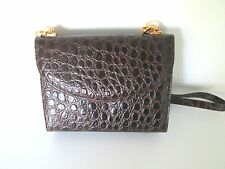 Salvatore Ferragamo Brown Leather Croc Messenger Bag Small 22 in,3 in,6 in,9 in