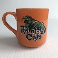 Vintage Rainforest Cafe Iggy Iguana Orange Coffee Mug Cup 2000 16oz