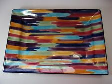 "Tabletops Unlimited Madrid Brush Stroke 18"" Rectangle Serving Tray Platter Dish"
