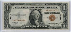 1935 A $1 One Dollar WWII Hawaii Silver Certificate AU+++ FR#2300, one crease
