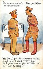 POSTCARD  COMIC ARMY - MEDICAL CENTRE - ORDERLY - OFFICER - TEMPERATURE - BEER