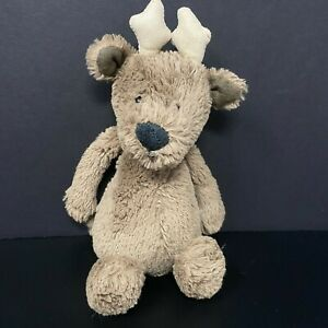 """Jellycat Brown Moose Reindeer Plush Antlers Shaggy Baby Lovey 8"""" FAST SHIPPING"""