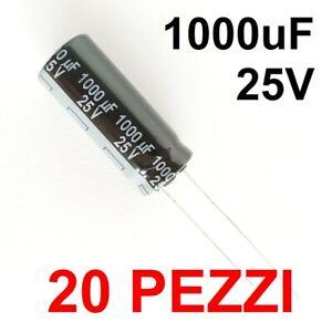 Condensatori Elettrolitici Panasonic 20x 1000uF 25V 105°C + 4x 22uf 400v 105°C