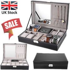 8 Grids Watch Box Case Display Jewelry Watch Storage Organizer PU Leather UK