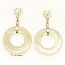 14k Yellow Solid Gold BLESSING Dangle Donuts White Mother of Pearl Earrings TPJ