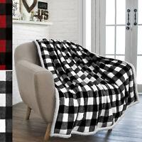 Plaid Buffalo Checker Cabin Throw Blanket Soft Sherpa Fleece for Sofa Couch