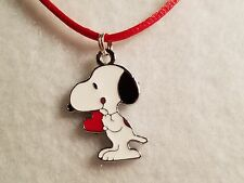 Charlie Brown's Snoopy Dog Red Heart Pendant on Satin Necklace w/Lobster Clasp