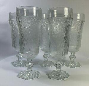 Mid Century Italian Art Glass Flutes Glasses x 5 Retro
