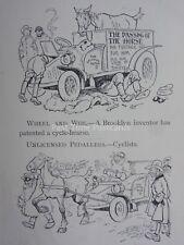Vintage voiture automobile inventeur du cycle breveté charrette antique Cartoon