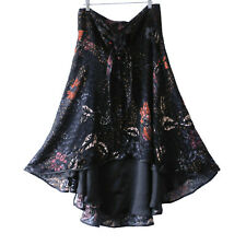 Free People Black Floral Textured Hi-Low Lined Skirt W/ Tie Waist Sz S