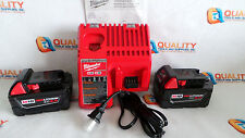 New Two (2) Milwaukee M18 48-11-1850 18V Red Li-Ion Battery XC 5.0Ah & Charger
