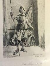 """Toussaint grabado """"el hombre en armas"""" tras Meissonier printsellers Asociación"""