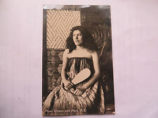 MAORI WOMAN NEW ZEALAND POSTCARD c1910 CAPTION MAORI WOMAN WITH MERE NZ No 107
