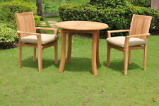 """Lua A-Grade Teak Wood 3 pc Dining 36"""" Round Table Arm Stacking Chair Outdoor Set"""