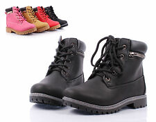 Black nn Lace Up Preschool Girls Booties Military Kids Youth Ankle Boots Size 12