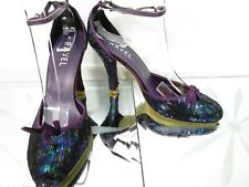 RAVEL Purple sequin covered evening party heel shoes UK 5 EU 38