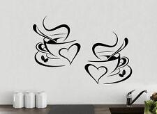 2 Coffee Cups Kitchen Wall Tea Sticker Vinyl Decal Art Restaurant Pub Decor Love