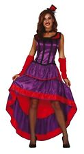 Purple Can Can Fancy Dress Saloon Show Girl Costume Burlesque Wild West Outfit