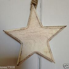 Rustic Chunky White Washed Hanging Star