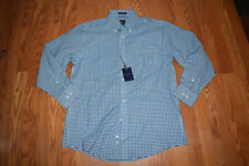 NWT Mens DOCKERS Battery Street Classic Fit L/S Teal Gingham Shirt XL 34/35