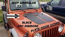 Jeep Wrangler TJ 2 pc black Diamond Plate Hood Cover With 2 Washer Fluid Holes